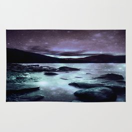 Magical Mountain Lake Dark Lavender Teal Rug