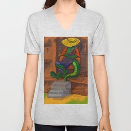 The Cajun Gator (Flat Color Version) by: Henry Wardsworth aka Concepts_By_Henry Unisex V-Neck