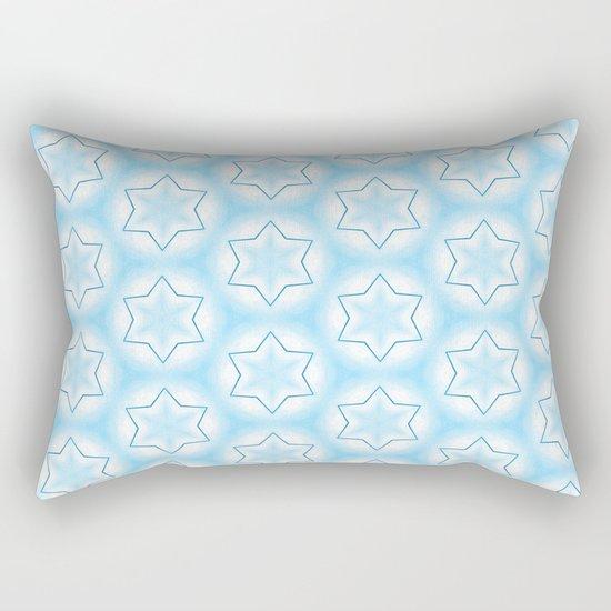 Shiny light blue winter star snowflakes pattern Rectangular Pillow