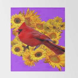 RED CARDINAL & YELLOW SUNFLOWERS PANTENE PURPLE Throw Blanket