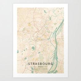 Strasbourg, France - Vintage Map Art Print
