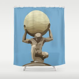light blue Man with Big Ball Illustration Shower Curtain