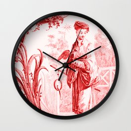 Chinoiserie Toile in Red Wall Clock