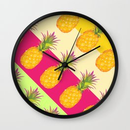Tropical Pineapples Wall Clock
