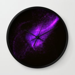 Abstract purple glowing particles Wall Clock