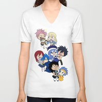 fairy tail V-neck T-shirts featuring Fairy Tail Chibi Couples by Minty Cocoa