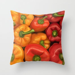 Red and Yellow Peppers Throw Pillow