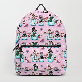 Christmas Snowman in Pink Backpack