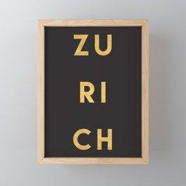 ZURICH SWITZERLAND GOLD CITY TYPOGRAPHY Framed Mini Art Print