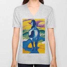 """Franz Marc """"Blue Horse II"""" Unisex V-Neck"""