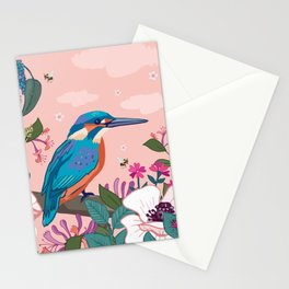 Kingfisher, White Poppies and Buddleia Stationery Cards