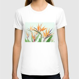 bird of paradise flower painting T-shirt