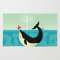 lake Area & Throw Rugs featuring The Bird and The Whale by Oliver Lake