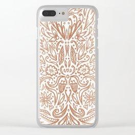 Rose Gold Shimmer Folk Floral Clear iPhone Case
