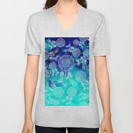 Modern boho white hand drawn dreamcatchers feathers pattern on blue turquoise watercolor Unisex V-Neck