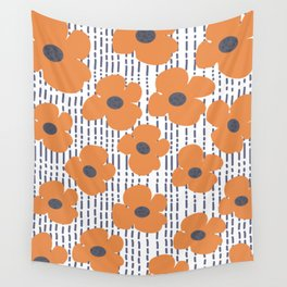 Blooming Floral Poppies Wall Tapestry