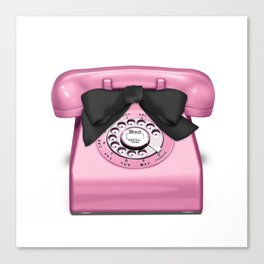 Telephone Girl Talk Pink Canvas Print