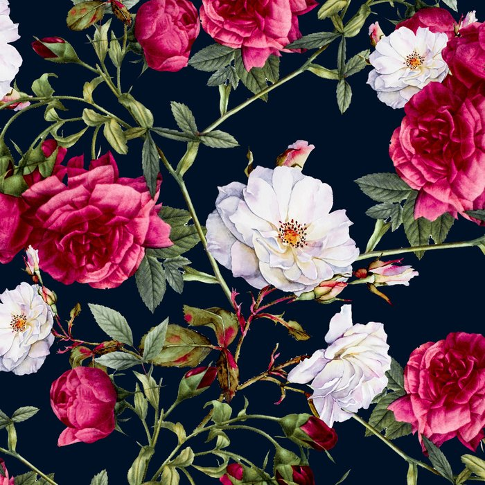 Vintage Roses on Darkblue Leggings