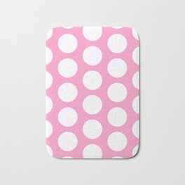 White circles on pink Bath Mat