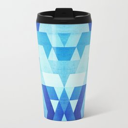 Abstract geometric triangle pattern (futuristic future symmetry) in ice blue Travel Mug