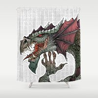 dragon Shower Curtains featuring dragon by Erdogan Ulker