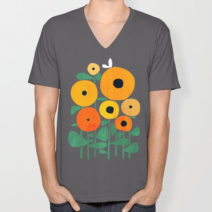 Sunflower and Bee Unisex V-Ausschnitt
