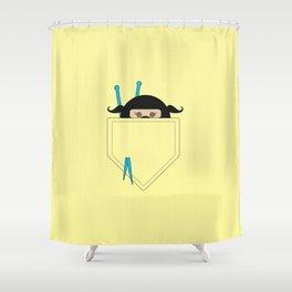 Pocket Knotty Ninja Shower Curtain