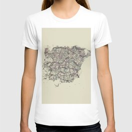 Spain antique map mottled faded digitally modified T-shirt