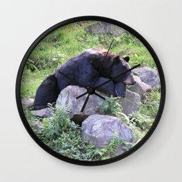 Contemplative Black Bear Wall Clock