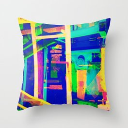 Industrial Abstract Blue Throw Pillow