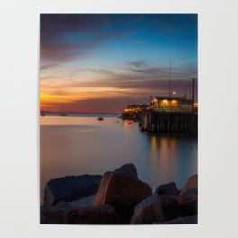 Here she comes again the sun rising at Port San Luis vila Beach Poster