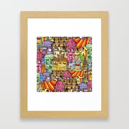 Suburbia watercolor collage Framed Art Print