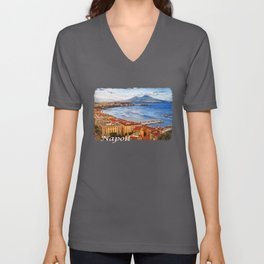 Napoli. Vesuvio and the bay Unisex V-Neck