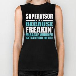 Supervisor Job Title Miracle Worker Gift Biker Tank