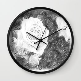 Pink Roses in Anzures 1 Charcoal Wall Clock