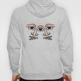 Three eyes are one whole face of twins. Hoody