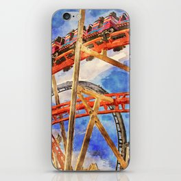 Fun on the roller coaster, close up iPhone Skin
