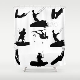 Wakeboarder Silhouette Collage Shower Curtain