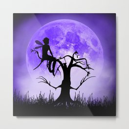 Moonlight Wondering Fairy - Purple Metal Print