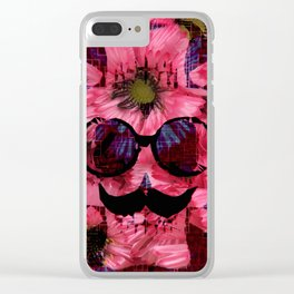 vintage old skull portrait with red and blue flower pattern abstract background Clear iPhone Case