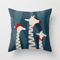 Throw Pillows featuring Giraffes Holiday Season Design by oursunnycdays