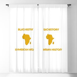 BLACK HISTORY IS AMERICAN HISTORY - Black history month - Africa map gold Blackout Curtain