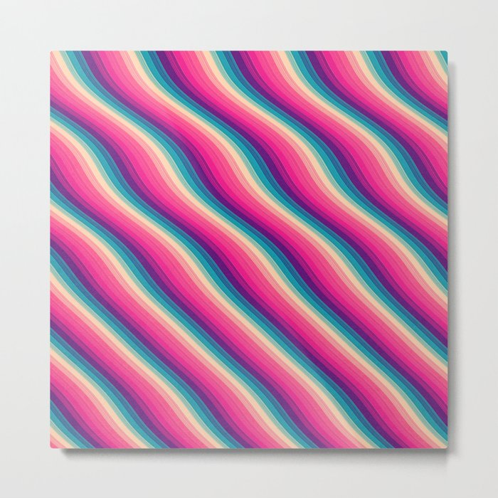 Abstract Color Burn Pattern - Geometric Lines / Optical Illusion in Rainbow Acid Colors Metal Print
