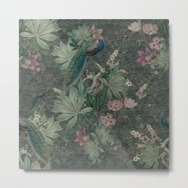 Bloomartgallery_Antique green peacock botanical exotic pattern Metal Print