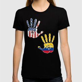 USA Colombia Handprint & Flag | Proud Colombian American Heritage, Biracial American Roots, Culture T-shirt