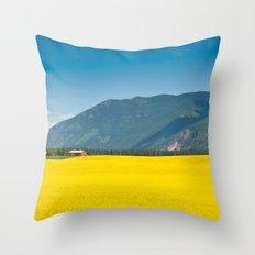 Canola farm Throw Pillow