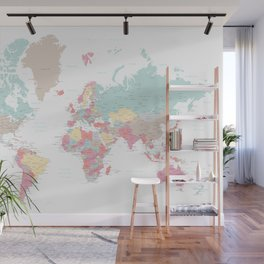 Pastel world map with cities Wall Mural
