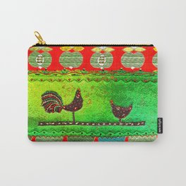 Modern folk art in red and green Carry-All Pouch