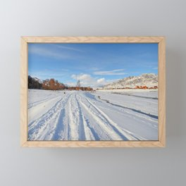 winter panorama of the village Framed Mini Art Print