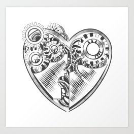 steampunk hipster vector drawing Valentine heart art element for card, site Art Print